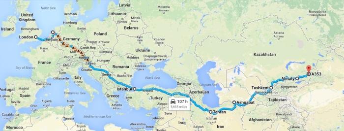 Route LON-KAZ